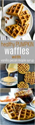 A collage of Pumpkin Waffles with Vanilla Pecan Maple Syrup.