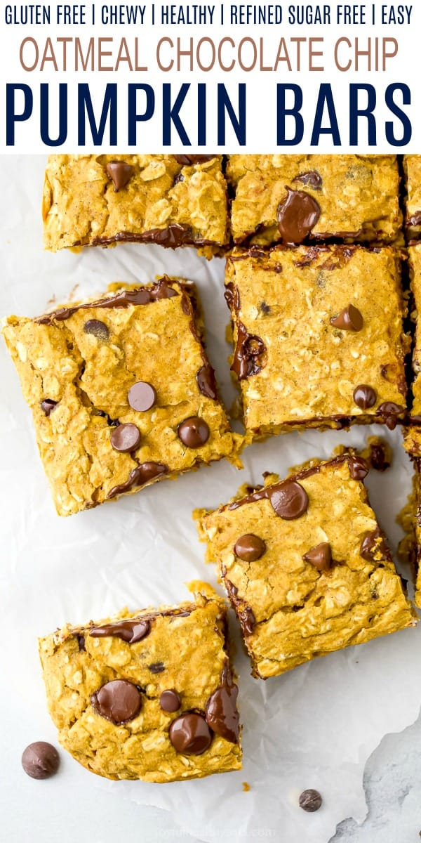 pinterest image for chocolate chip pumpkin bars