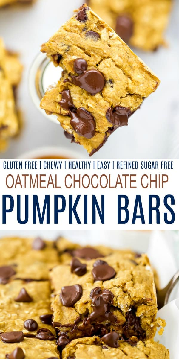 pinterest image for the best oatmeal chocolate chip pumpkin bars