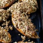 Twice Baked Sweet Potatoes with Oatmeal Pecan Streusel