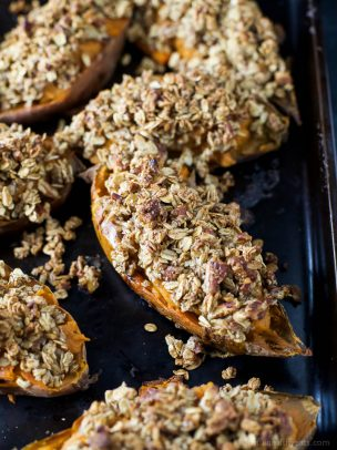 Image of Twice Baked Sweet Potatoes with Oatmeal Pecan Streusel