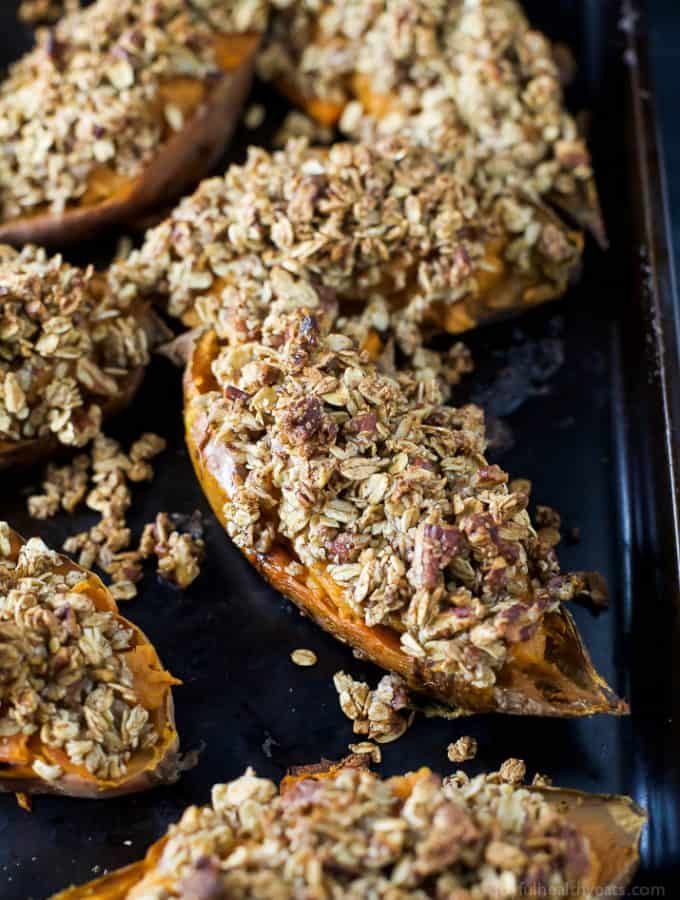 Twice Baked Sweet Potatoes with Oatmeal Pecan Streusel - a healthy alternative to that Sweet Potato Casserole! A perfect gluten free Thanksgiving side dish that's sure to please a crowd!