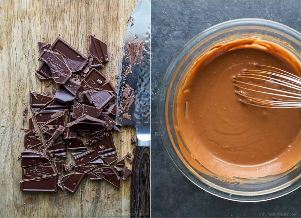 A collage of two photos with chopped chocolate and a bowl of melted chocolate