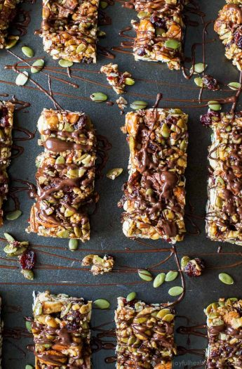 Easy Gluten Free Cranberry Almond Homemade Granola Bars - loaded with nuts, cranberries and a chocolate drizzle for good measure. These Granola Bars are perfect snack to have on hand at all times!