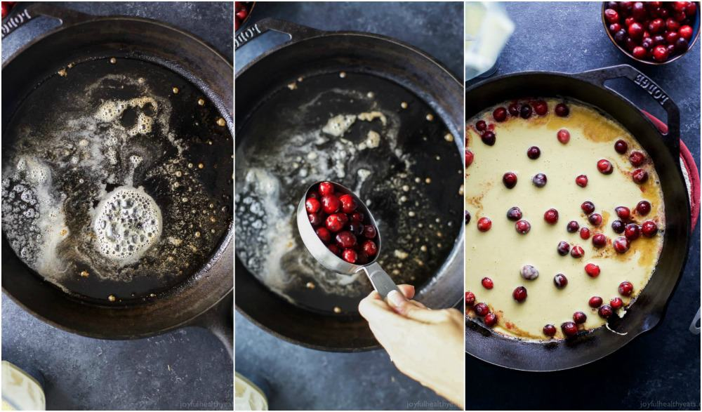 Collage of steps for cooking Cranberry Orange Dutch Baby in a cast-iron skillet