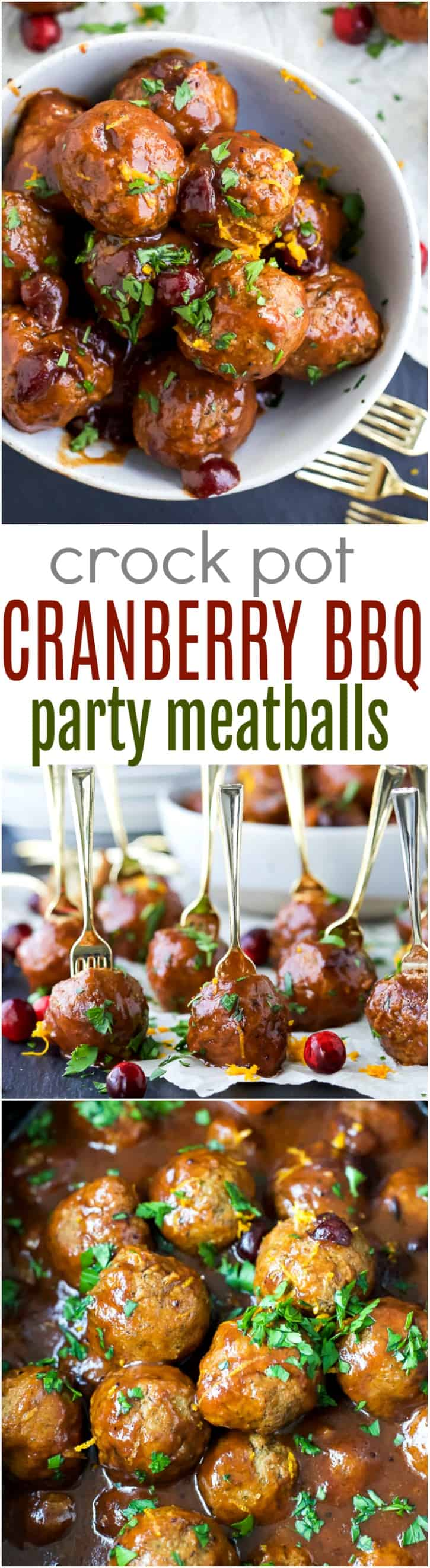 Crock Pot Cranberry BBQ Meatballs - the ultimate appetizer for the holidays. These party meatballs are covered in a sweet spicy Cranberry BBQ sauce that'll make you swoon!