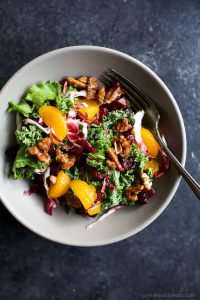 Image of a Mandarin Orange Cranberry Kale Salad with Candied Pecans