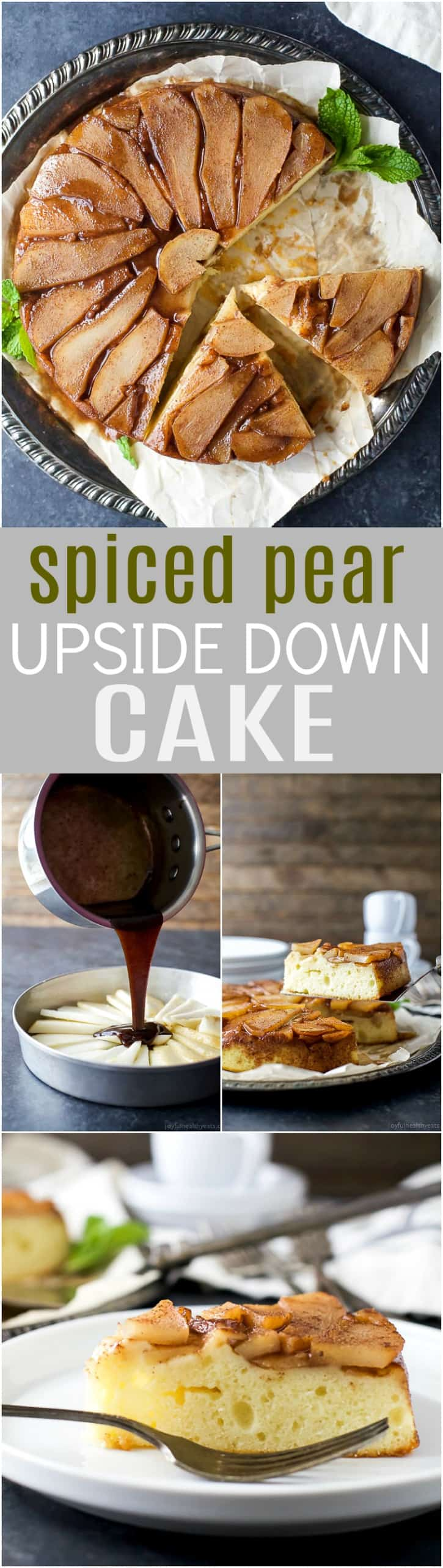 Spiced Pear Upside Down Cake - spiced brown sugar pears on a moist fluffy vanilla cake. A twist on a classic upside down cake with half the calories.