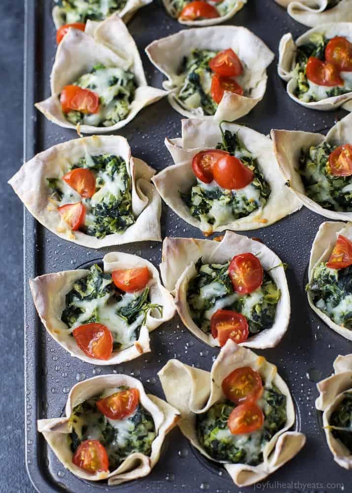Spinach Artichoke Dip Wonton Bites