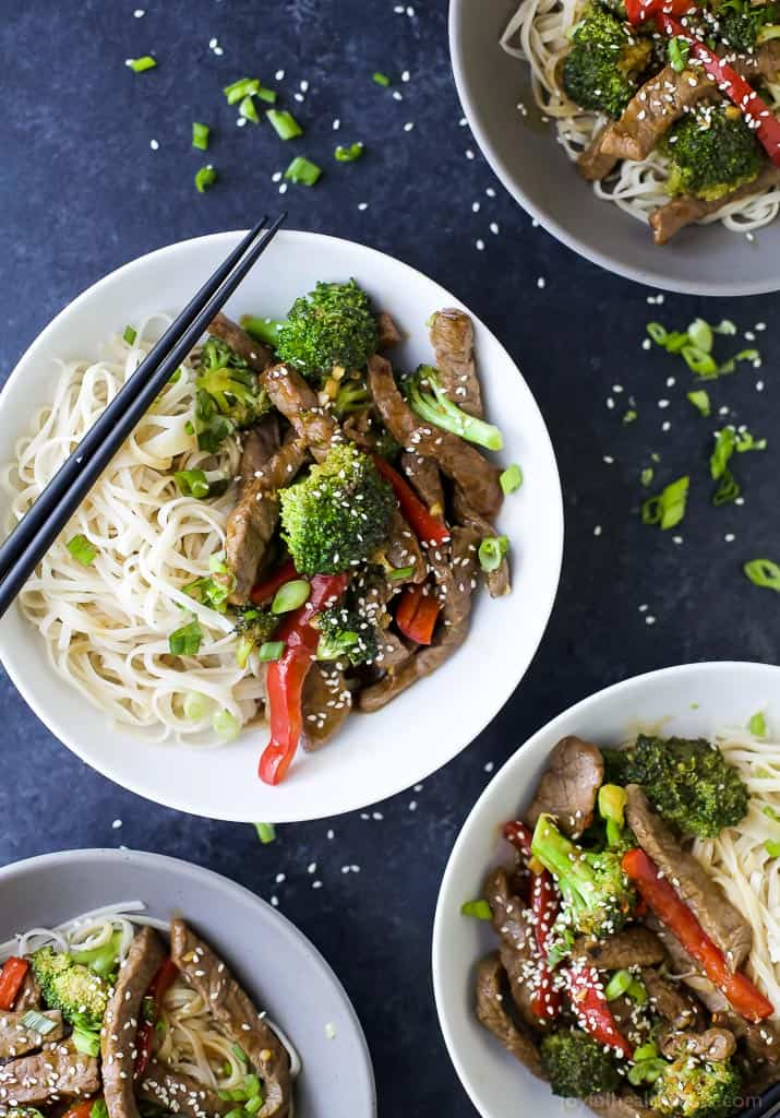 Top view of Easy 20 Minute Beef and Broccoli Stir Fry Recipe with noodles in bowls