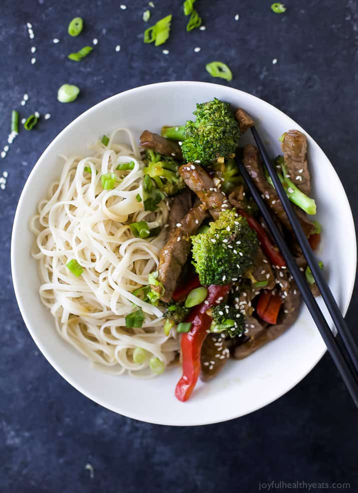 Top view of Easy 20 Minute Beef and Broccoli Stir Fry with noodles in a bowl