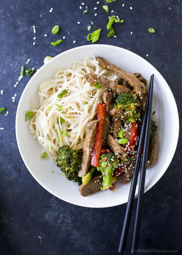 Easy 20 Minute Beef and Broccoli Stir Fry with noodles in a bowl