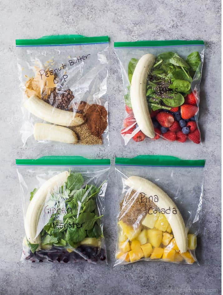 4 Easy Smoothie Packs Recipes that can be made ahead and frozen for quick use