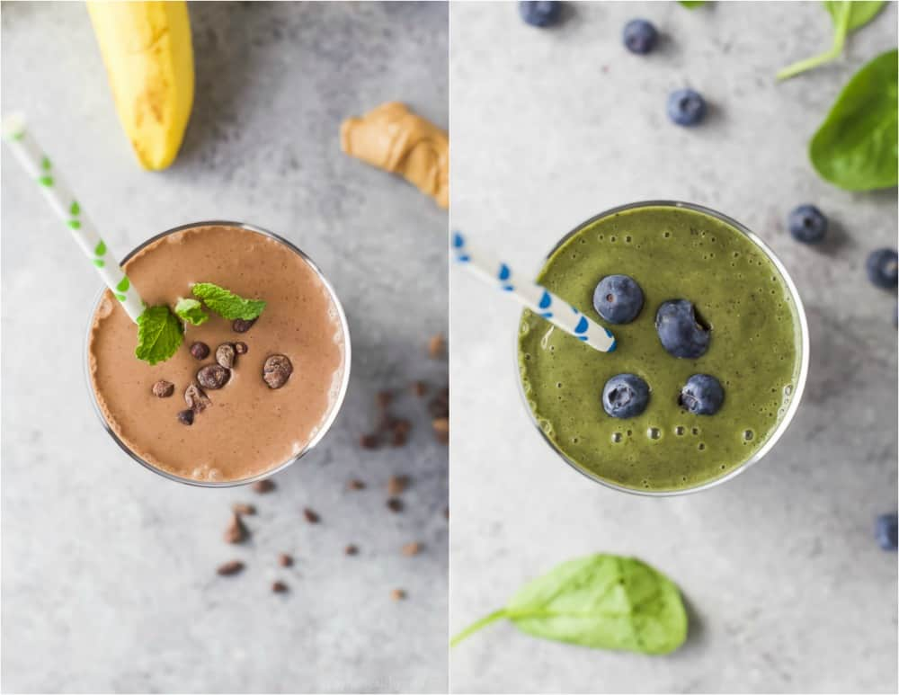 Collage of two images of smoothies in a glass