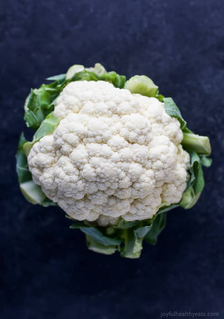 Top view of a head of cauliflower