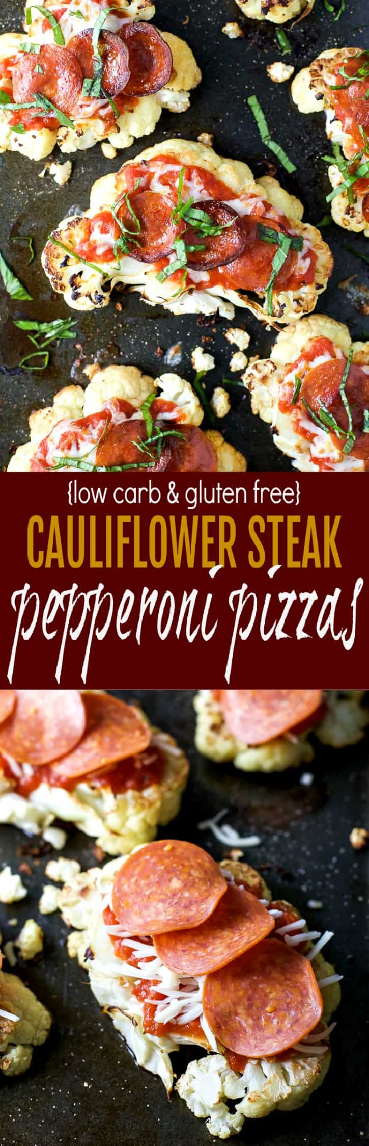 Low Carb & Gluten Free Cauliflower Steak Pepperoni Pizzas on a baking sheet