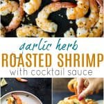 pinterest image for garlic herb roasted shrimp with cocktail sauce