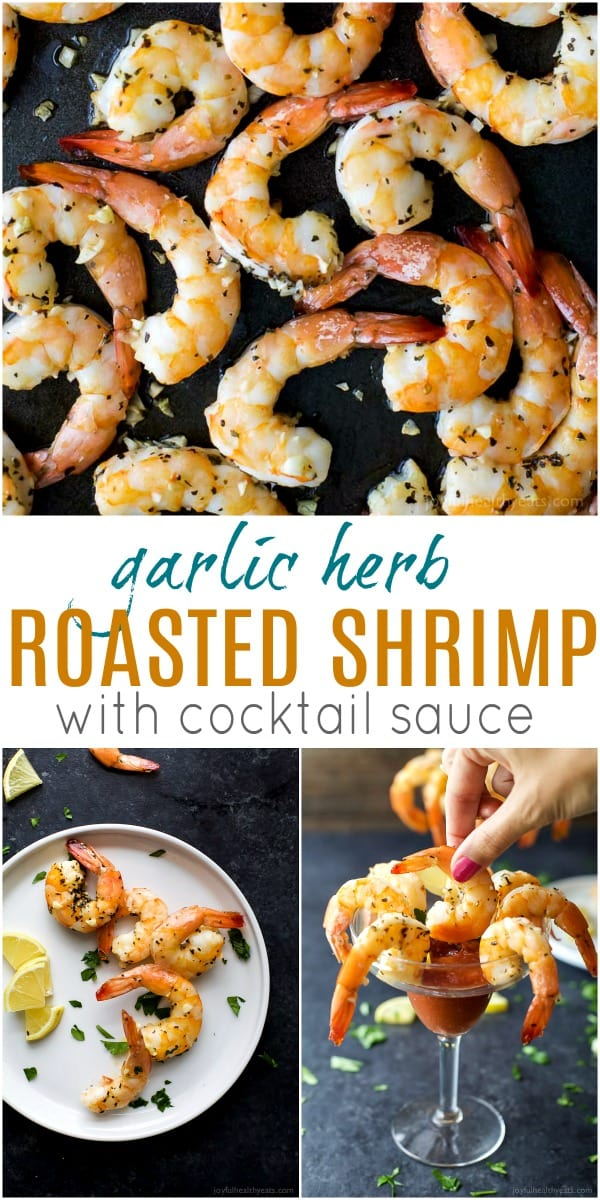 Recipe collage for garlic herb roasted shrimp with cocktail sauce