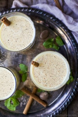 holiday spiked eggnog in a glass
