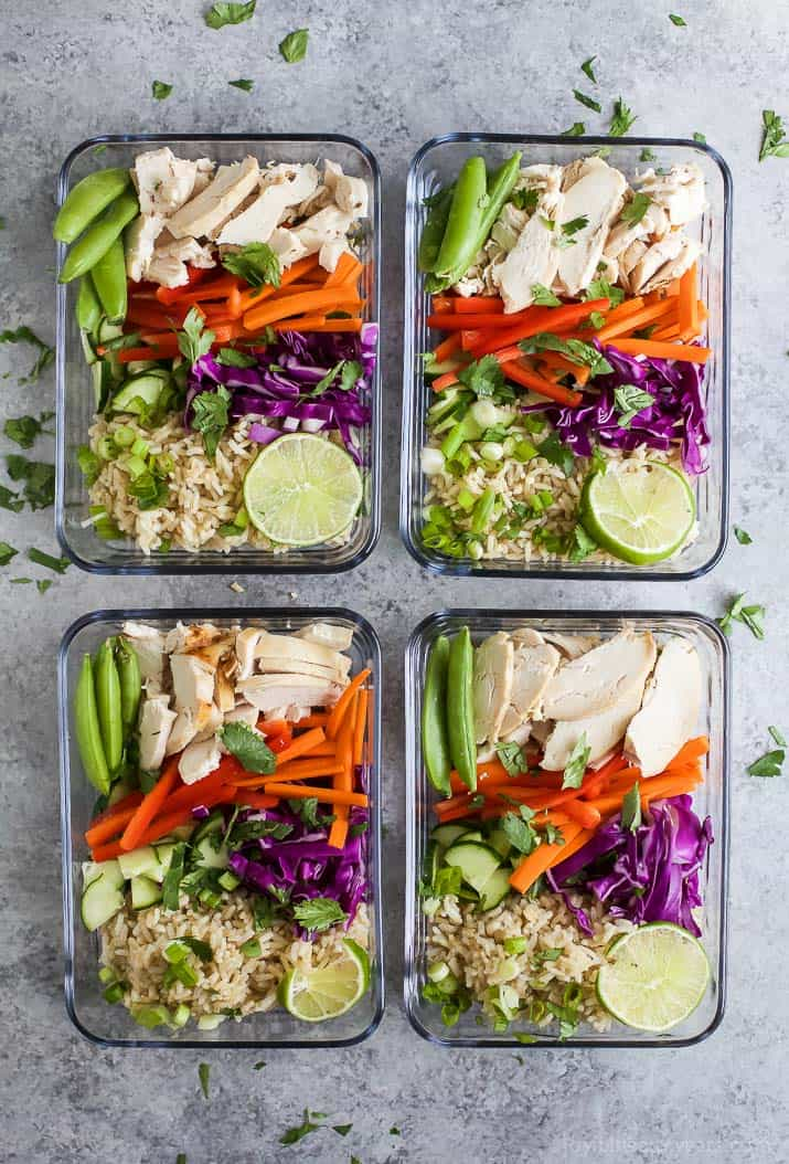 Easy Thai Chicken Grain Bowl drizzled with a Creamy Peanut Dressing. These Grain Bowls are filled with veggies, thai flavors, 17 grams of protein and come together in 15 minutes. The perfect start to a healthy new year! {gluten free}