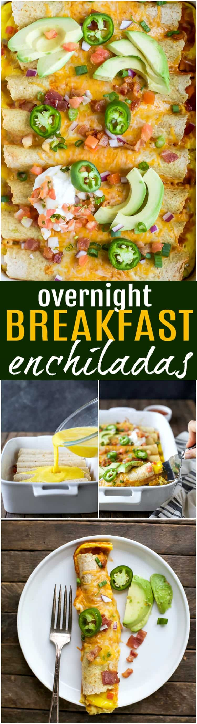 Easy Cheesy Overnight Breakfast Enchiladas filled with bacon, ham, veggies and an egg mixture. Make it the night before and bake in the morning! A delicious savory breakfast recipe perfect for brunch or the holidays!