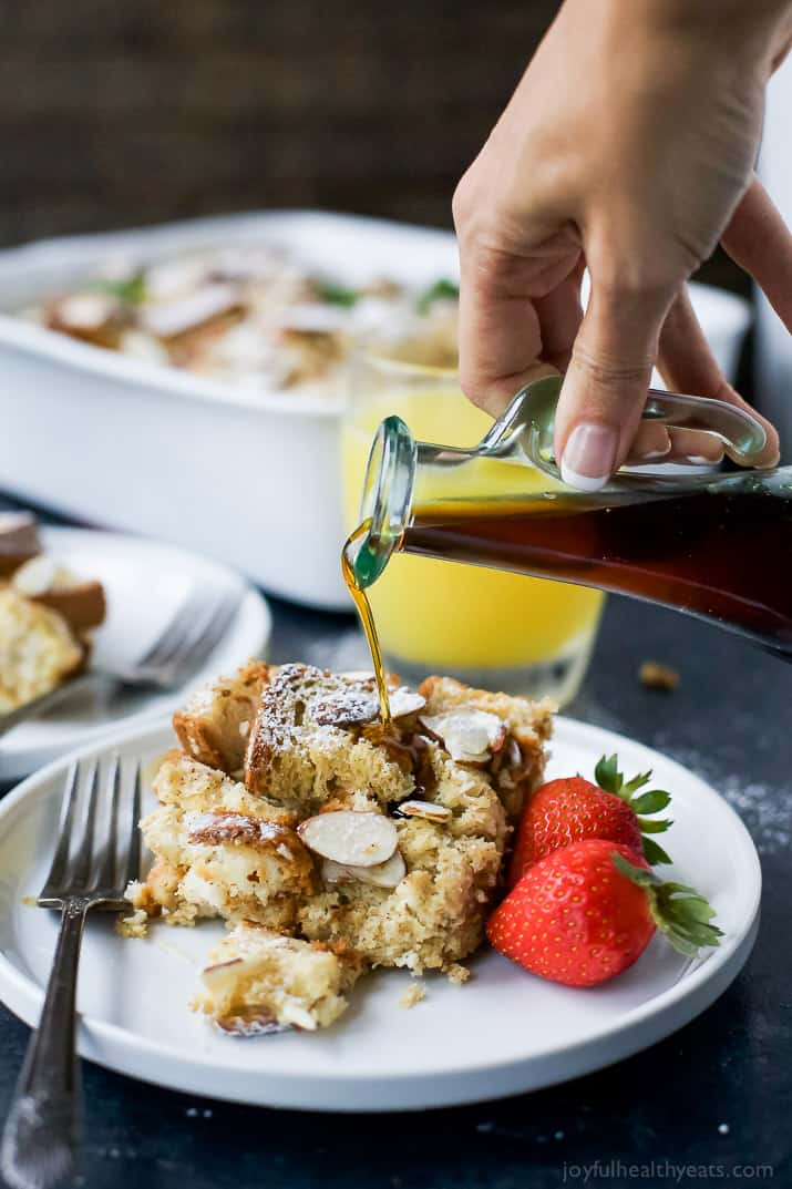 Overnight Chai Eggnog French Toast Casserole loaded with flavor, plus it's gluten free and dairy free! This french toast casserole is the perfect make ahead breakfast for Christmas morning!
