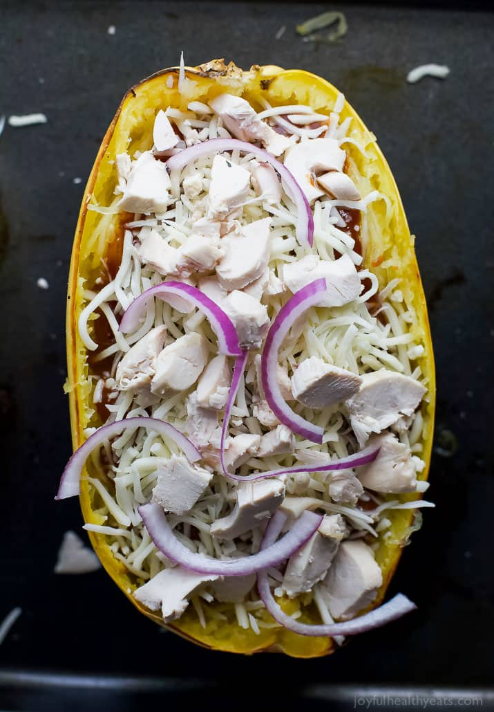 Unbaked BBQ Chicken Pizza Stuffed Spaghetti Squash