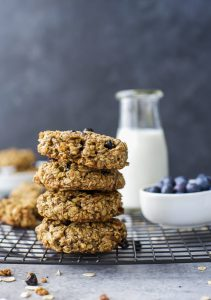 Image of Stacked Blueberry Breakfast Cookies with Milk