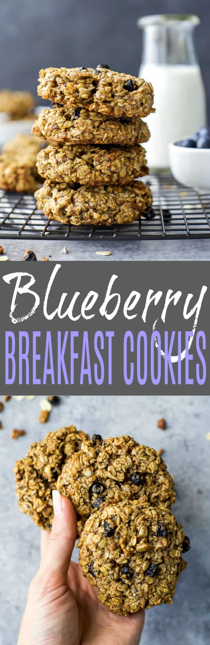A collage of two images of Blueberry Breakfast Cookies with the recipe title text