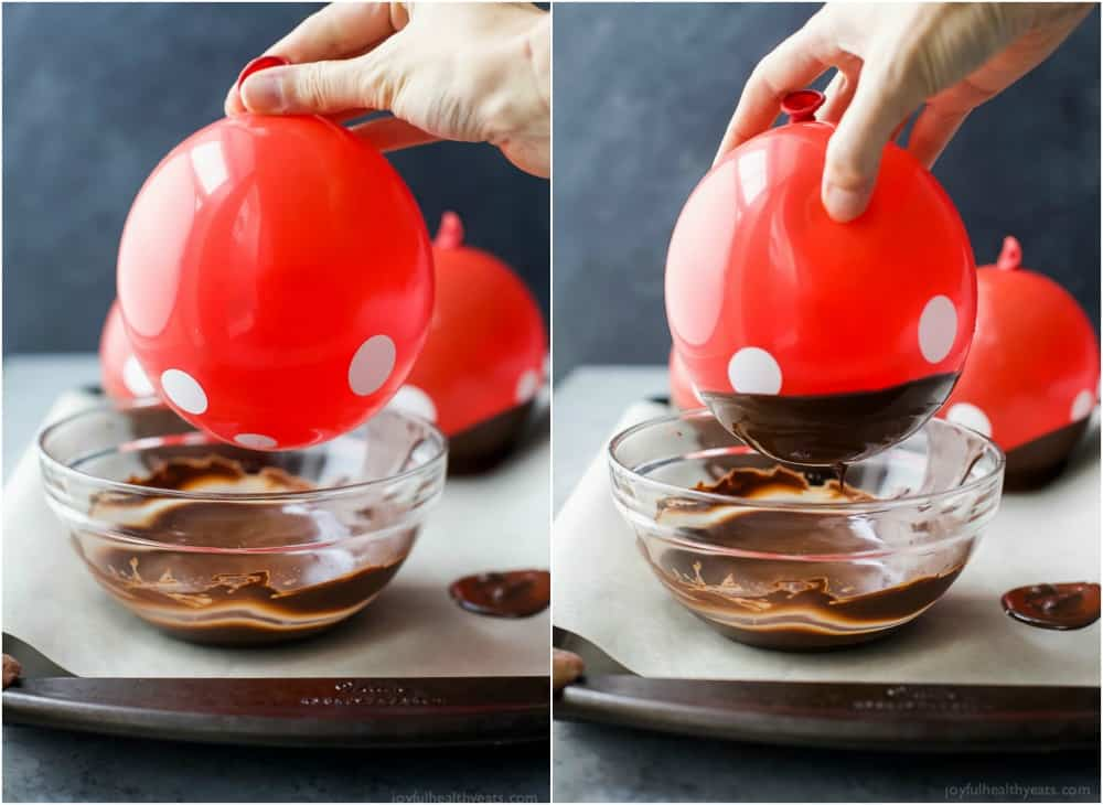 Inflated balloons being dipped in chocolate to make DIY Chocolate Bowls