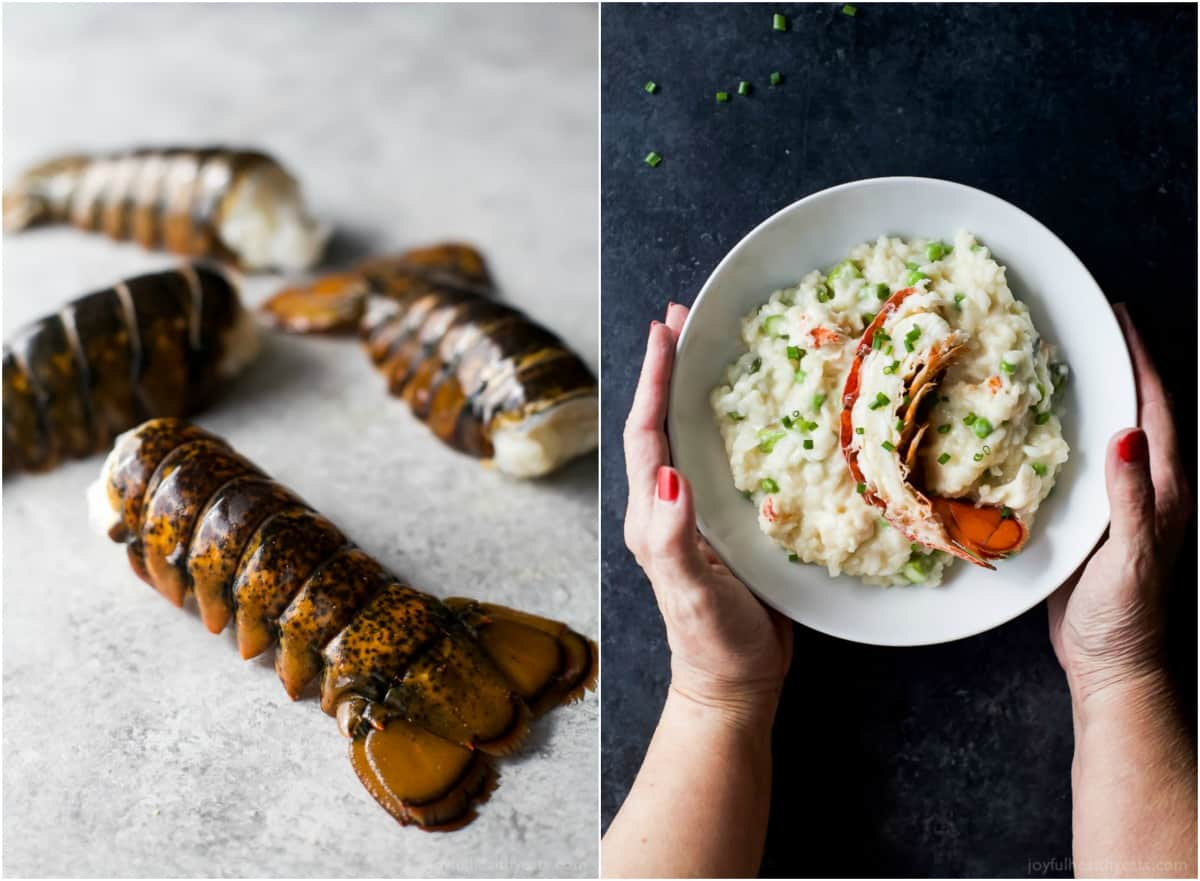 Lobster tails and a bowl of Creamy Lobster Risotto