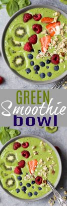 A collage of Green Smoothie Bowl images.