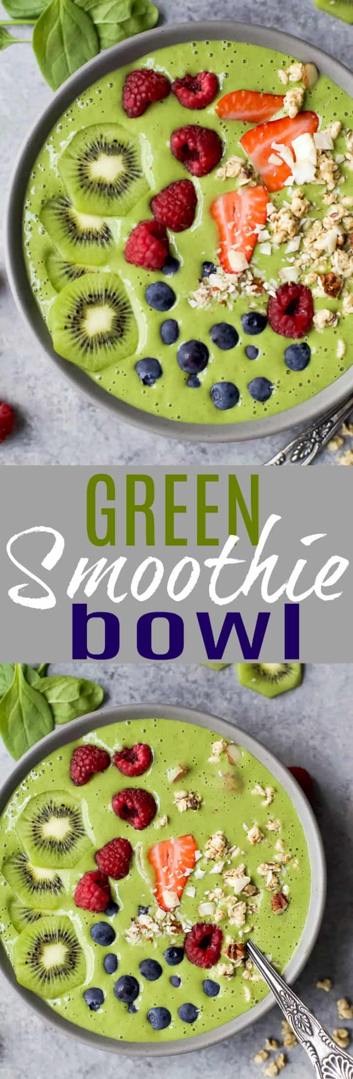 A delicious fiber packed Green Smoothie Bowl you can easily customize. The perfect healthy breakfast, lunch or post workout snack! #glutenfree