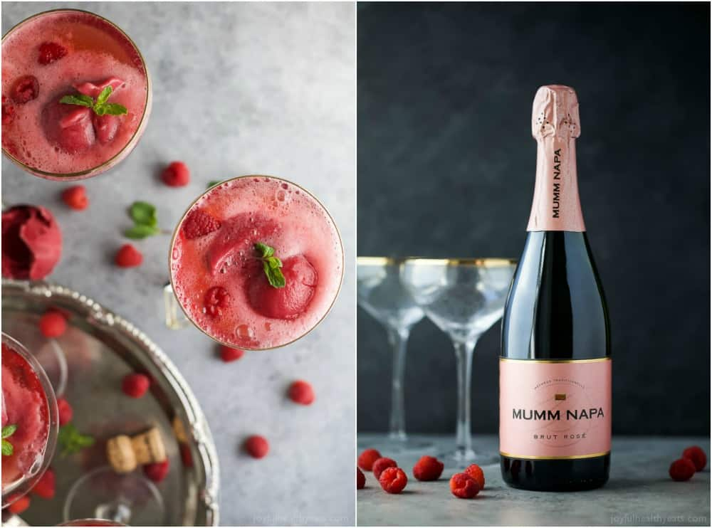 Raspberry Sorbet Rosé Floats - a fun beautiful cocktail to serve on Valentines Day or a ladies brunch! Made with raspberry sorbet, Rosé and vanilla vodka!