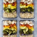 Roasted Veggie Balsamic Chicken Grain Bowls
