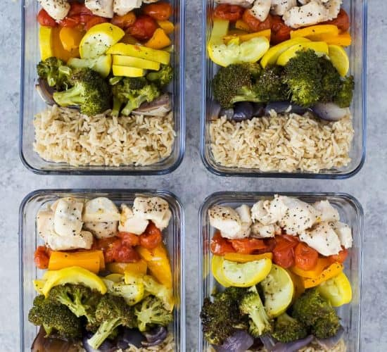 Gluten Free Roasted Veggie Balsamic Chicken Grain Bowls - an easy meal prep recipe or weeknight dinner for the week. Loads of veggies, light, flavorful, easy to make with 28 grams of protein and less than 350 calories a serving!