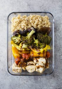 Image of a Roasted Veggie Balsamic Chicken Grain Bowl