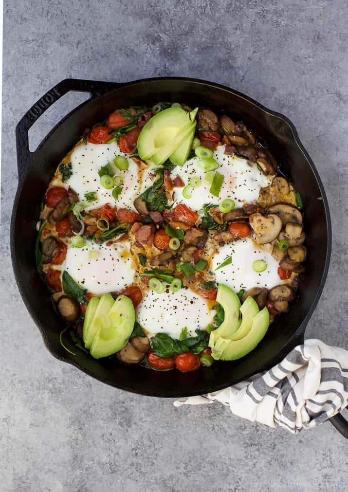 An easy gluten free Spinach Mushroom Breakfast Skillet that comes together in less than 30 minutes! This Breakfast Skillet is loaded with fiber and then topped with a runny egg and avocado. Perfect for brunch or dinner!
