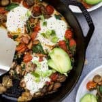 Spinach Mushroom Breakfast Skillet with Eggs