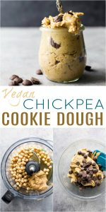 pinterest image for vegan chickpea cookie dough (peanut butter & chocolate chip)