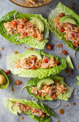Buffalo Chicken Lettuce Wraps, a healthy low carb dinner recipe that's on the table in 15 minutes! These Lettuce Wraps are loaded with buffalo chicken flavor and topped with fresh veggies!