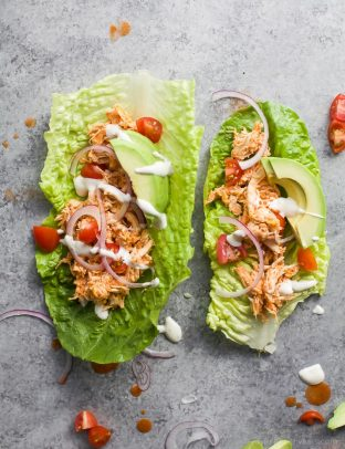 buffalo chicken salad in a lettuce wrap