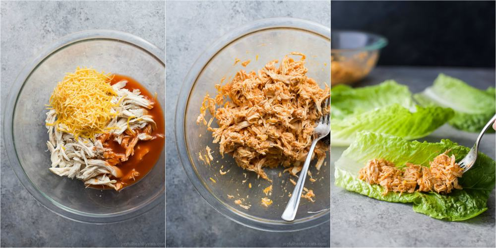 A collage of three images of shredded buffalo chicken in mixing bowls and being put into lettuce leaves