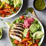 Chicken Fajita Salad with Chimmichurri Dressing