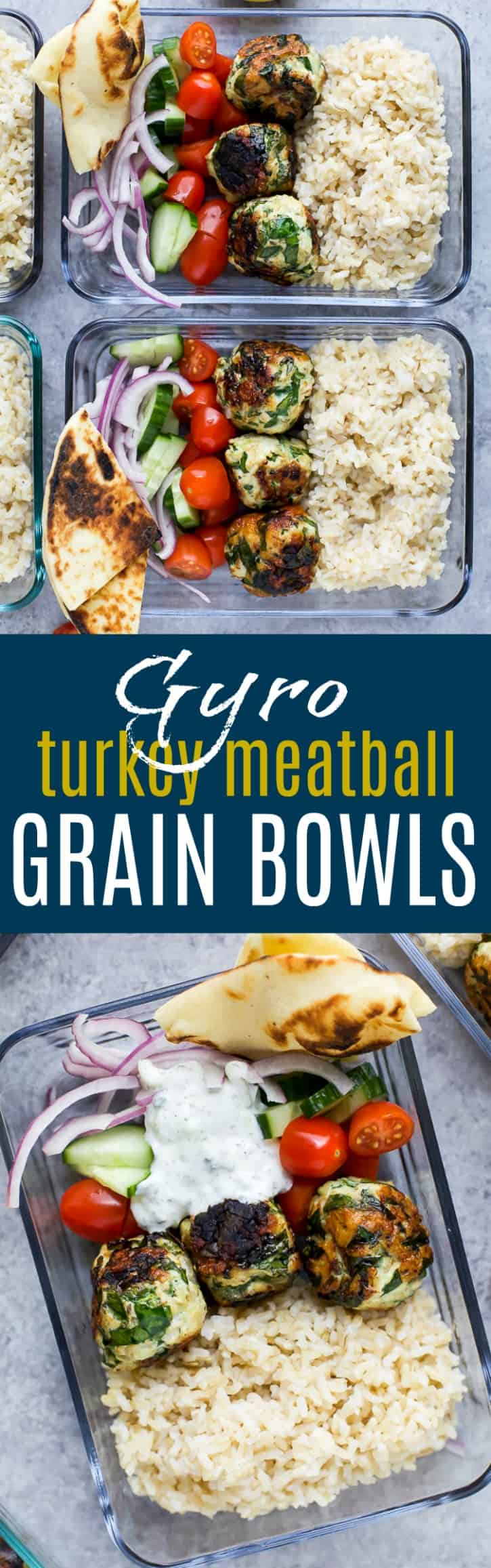 Gyro Turkey Meatball Grain Bowls drizzled in a creamy Tzatziki sauce make the perfect high protein meal prep recipe or weeknight dinner, only 370 calories a serving.