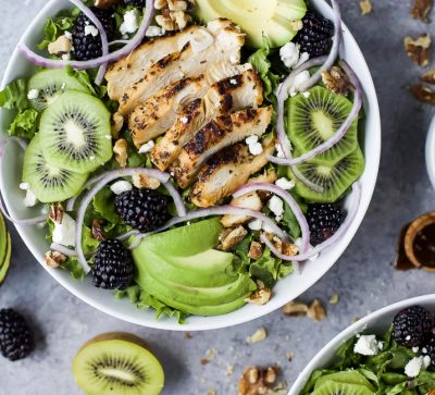 Image of Blackberry Kiwi Balsamic Chicken Salad in a Bowl