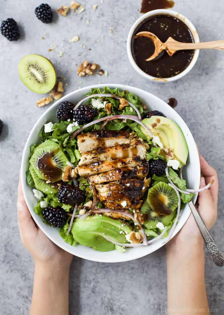 Blackberry Kiwi Balsamic Chicken Salad in a bowl