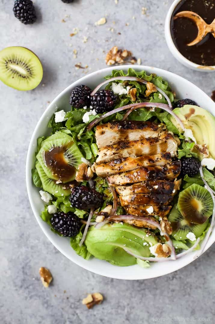 Top view of Blackberry Kiwi Balsamic Chicken Salad in a bowl