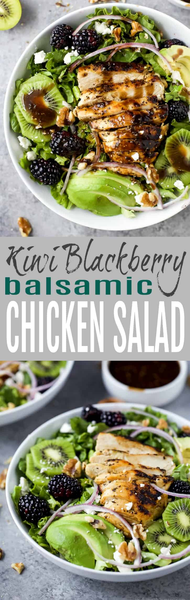 Blackberry Kiwi Balsamic Chicken Salad - an easy light naturally gluten free salad recipe filled with fresh fruit, feta cheese and tender chicken. This quick 30 minute Balsamic Chicken Salad is perfect for the warmer weather!
