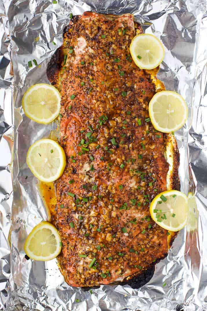 Image of a Honey Mustard Baked Salmon in Tin Foil